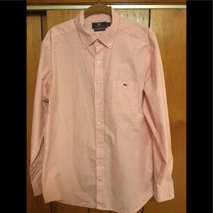 Vineyard Vines pink checkered shirt